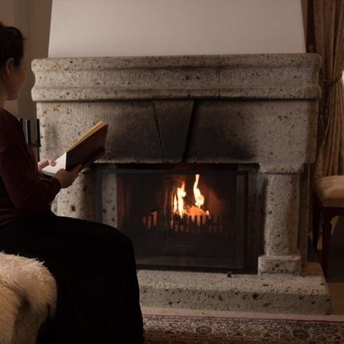 ジュニアスィート、芦ノ湖エクストラルームには暖炉が