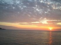 ペンション前の夕日です
