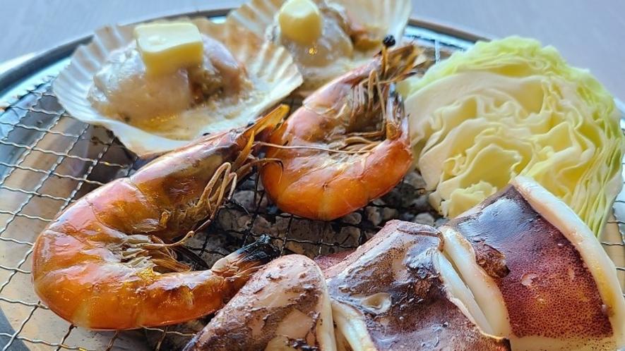 ■屋内BBQプランでは海鮮付もございます■