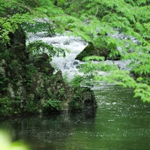 東山を流れる湯川