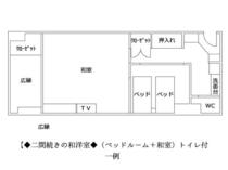 【間取り一例】◆二間続きの和洋室◆(ベッドルーム+和室)トイレ付 ※様々なタイプがございます。