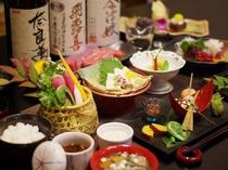 【ご夕食】創作会津郷土料理の一例 「会津名物桜刺し」は専用プランもしくは別注にてご用意が可能です。