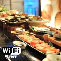【館内Free Wi-Fi】朝食ビュッフェの一例。栄養満点☆会津産コシヒカリと共にお好きなだけどうぞ