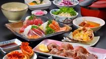 厚切りの牛タン&三陸産刺身盛 夕食一例