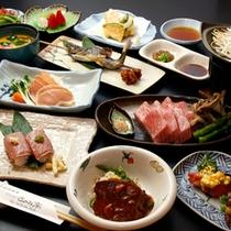 飛騨牛の陶板焼きや岩魚塩焼きの付いたプラン※『飛騨牛あぶりにぎり寿司』は別注となります