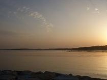 宿前からの夕日