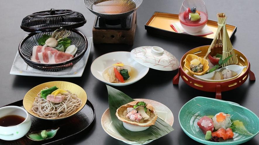日本料理「那須」 地元食材の料理が楽しめるカジュアルコース(一例)