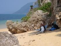 無人の砂浜