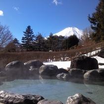 男性露天風呂からの富士山(冬季)
