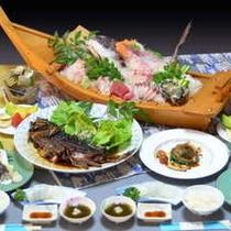 舟盛&選べる鮑料理(2名様分の料理内容です)
