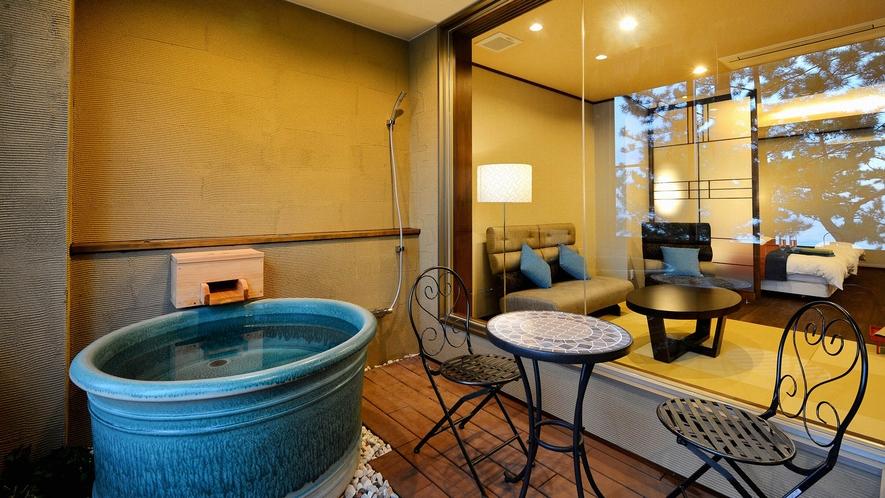 ・【和モダン・恋灯りの間・和洋室『潮騒』】オーシャンビューの展望風呂がございます