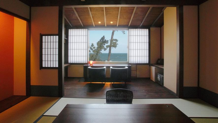 ・【和モダン・恋語りの間・和室『黒潮』】お部屋から美しい伊勢湾の風景をご覧いただけます