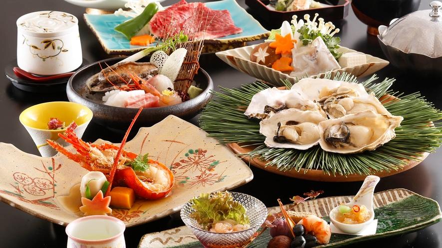 ・【五大味覚夕食一例(秋冬)】伊勢海老、牡蠣、ふぐなど季節の味をどうぞ