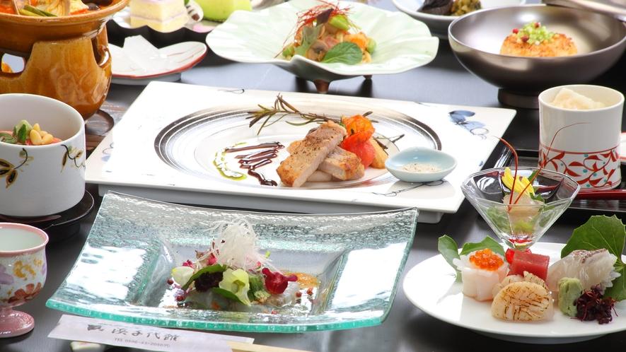 ・【レディスプラン夕食一例】舌と目で楽しめるお料理の数々