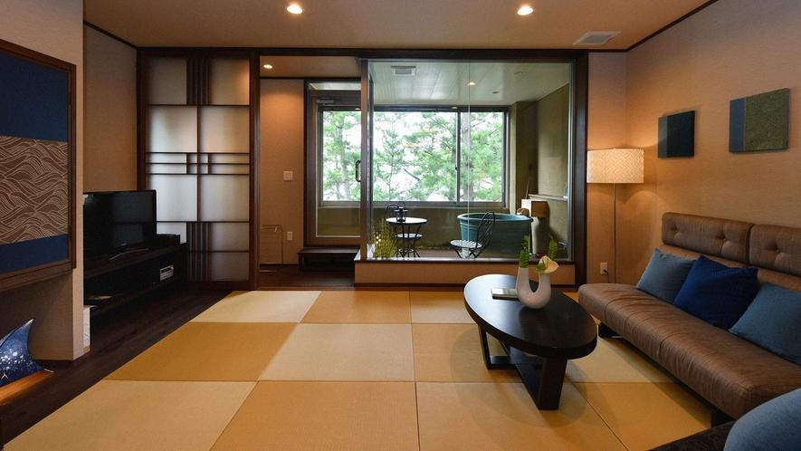 ・【和モダン・恋灯りの間・和洋室『潮騒』】ソファと畳でゆったり寛げます