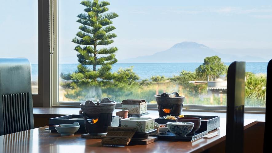 知林から見る桜島風景