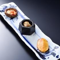 岩魚のなめろう焼き、椎茸ピザ、海老芋田楽 寒い時期にはこちらをご用意しております。