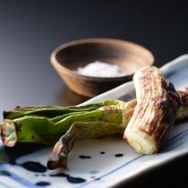 夕食一例〜焼肴・松本一本ねぎ焼