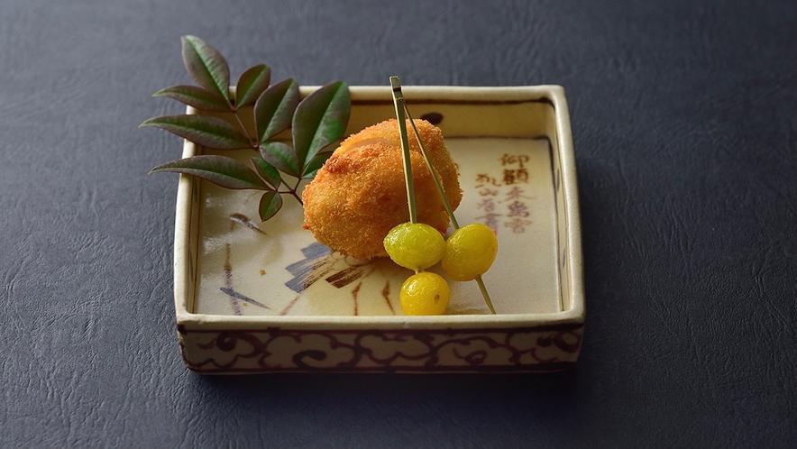【冬料理】油菜 海老芋のふらい