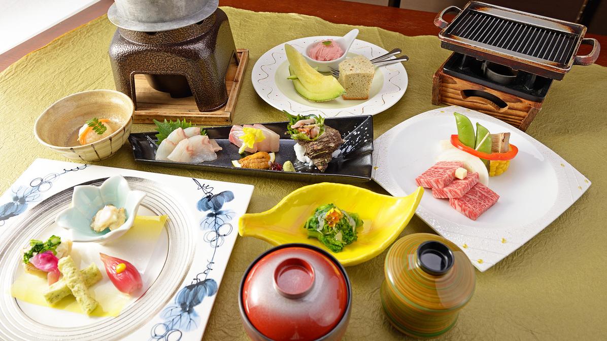 *【夕食一例】量より質会席/品数は少し抑えて、上質な食材を味わいたい方の為のグルメ会席。