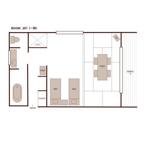 和洋室の間取り一例(約45平米)