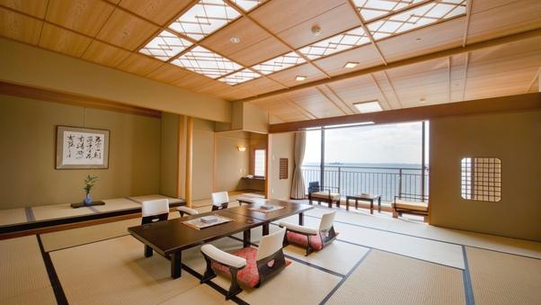 波の音と絶景を愉しむ 数寄屋造特別室『凪亭』ツインベッド