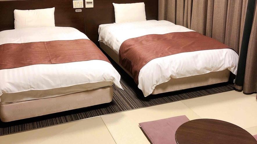 ■クラブフロア和洋室27.5平米(ベッド幅110cm×205cm×2台 和布団×2組)■