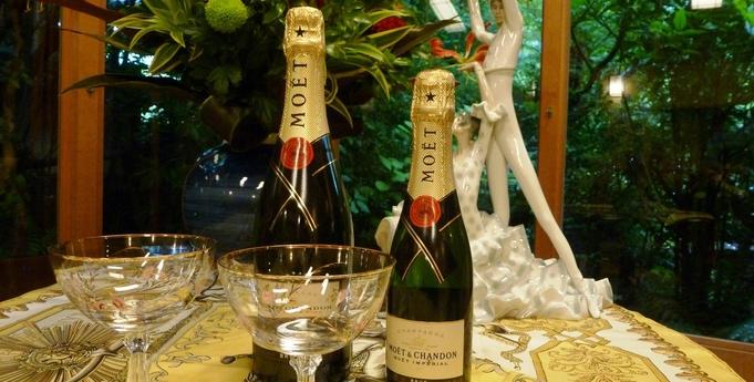 グレードアップ懐石料理にシャンパンを添えて・・【なな川プレミアムコースプラン】