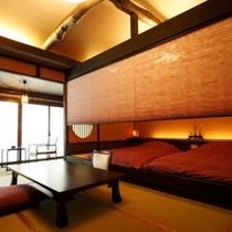 【別邸れとろ 和モダン客室】和洋折衷のお部屋でカップルに非常に人気です。二人の時を満喫ください!