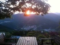 テラスからの夕陽