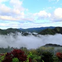 早起きして雲海を見る朝。棚田とのコラボレーションは圧巻です。