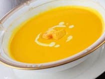 自家製のかぼちゃのスープ。
