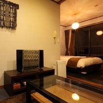 スタンダードダブル【空】標準洋室★海望む露天風呂付/バンブー家具を配したバリ風のお部屋