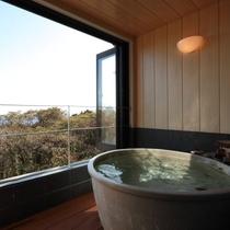 メゾネットタイプの客室付き半露天風呂ではこんな景色も独り占め。