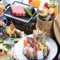 アワビのセイロ蒸し&牛ステーキ☆お造りは鯵の姿&金目鯛刺身のお造り♪花車の膳