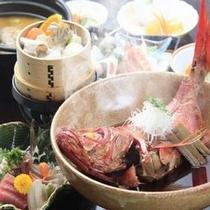 【期間限定】漁火の膳は和豚もち豚箱根西麓野菜のせいろ蒸し付きです