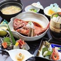 金目鯛の姿煮付が嬉しい【漁火の膳】板長秘伝の味付けがお酒もご飯もすすみます