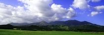 周辺の牧草地と日高の山々