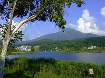 夏の白樺湖蓼科山