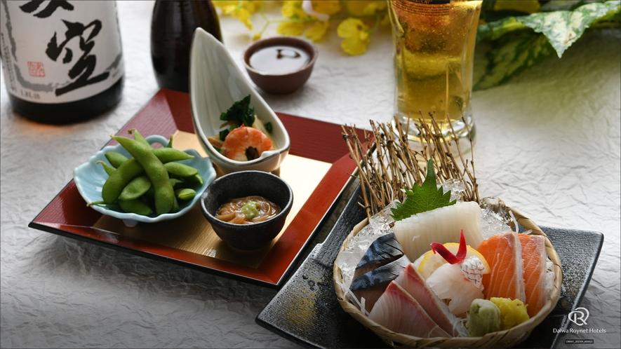 1階居酒屋「海の台所 稲瀬」夕食メニュー一例 ◆お一人様晩酌コース