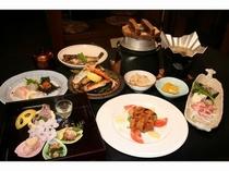 魚も肉も・・欲張りコース5000円会席料理(例)