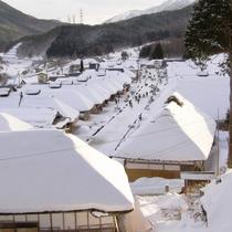 冬の大内宿、会津の厳しい冬を感じることができます。