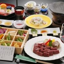 福島牛たっぷり陶板焼きと会津野菜の玉手箱コース