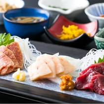 会津の郷土料理(豆皿・馬刺しは追加一品になります)