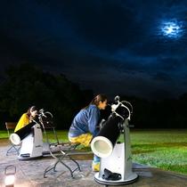 テラス前 ドブソニアン反射望遠鏡を使ったムーンウォッチング