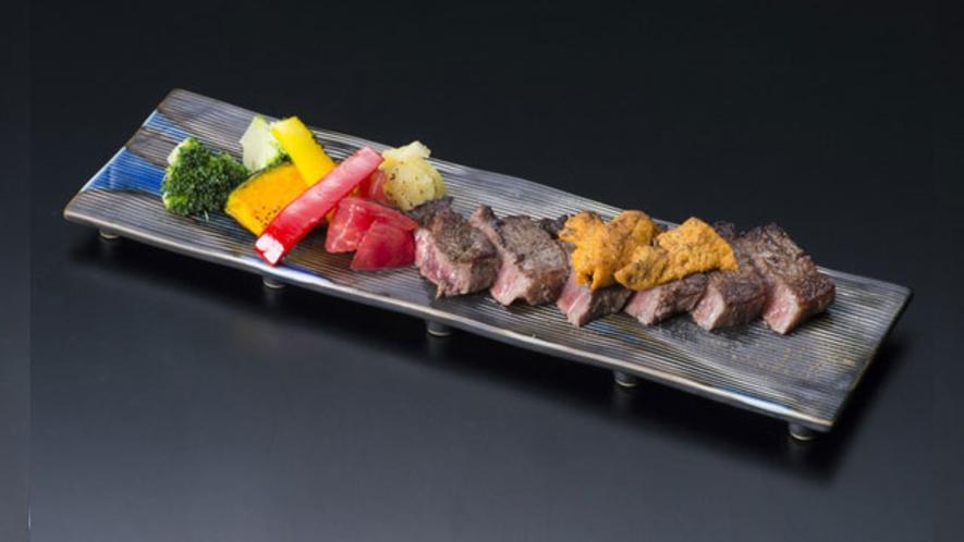 一品料理 栃木県産黒毛和牛の山椒焼き ウニのせ
