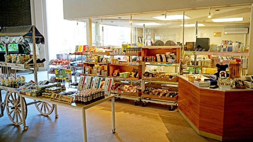売店は特産品や山関連のpinsも豊富