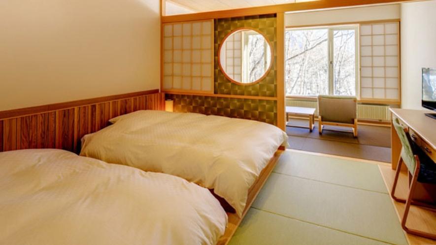 【13室の人気の和洋室】 平成27年12月に完成 Wサイズ(140㎝)のベッドでゆったりと。