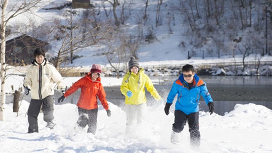 スノーシューで雪の上を走ってみた