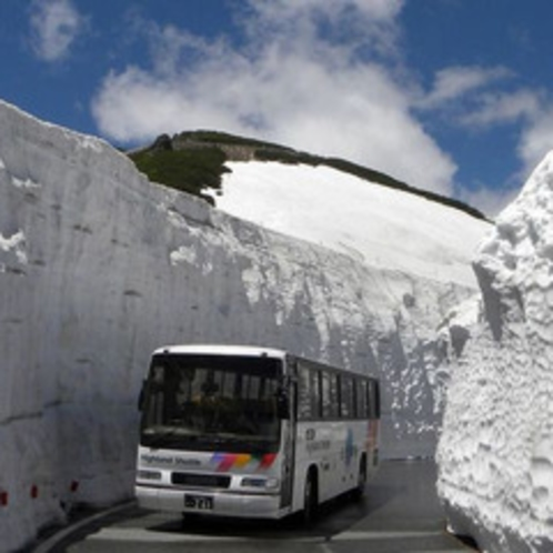雪の壁を通る「乗鞍岳春山バス」